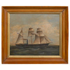 Oil Painting of Ship with American Flag