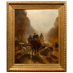 French 19th Century Oil Painting of Peasants Going to the Market with Sheep