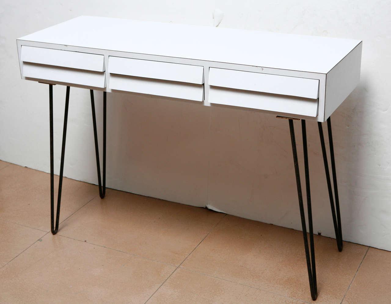 Mid Century Style Desk on Hairpin Legs at 1stdibs