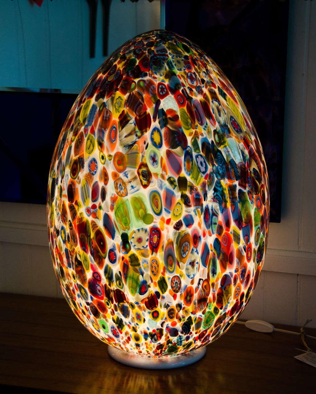 murano glass egg shaped table lamp for sale at 1stdibs. Black Bedroom Furniture Sets. Home Design Ideas