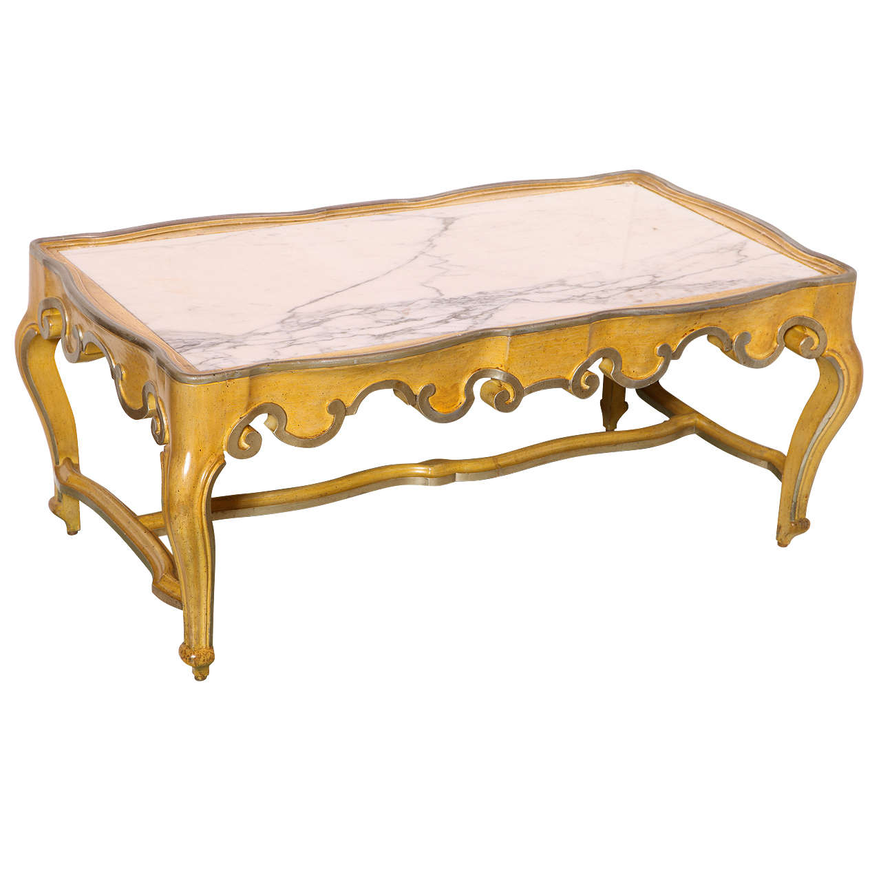 Baker rococo style coffee table with marble top at 1stdibs Baker coffee table