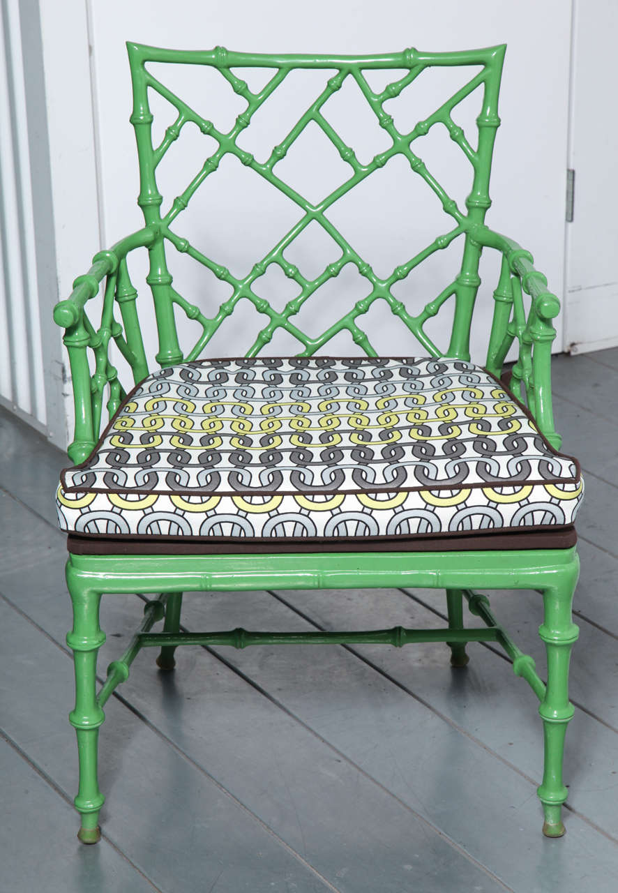 Phyllis Morris Faux Bamboo Cast Metal Arm Chairs Set Of 6