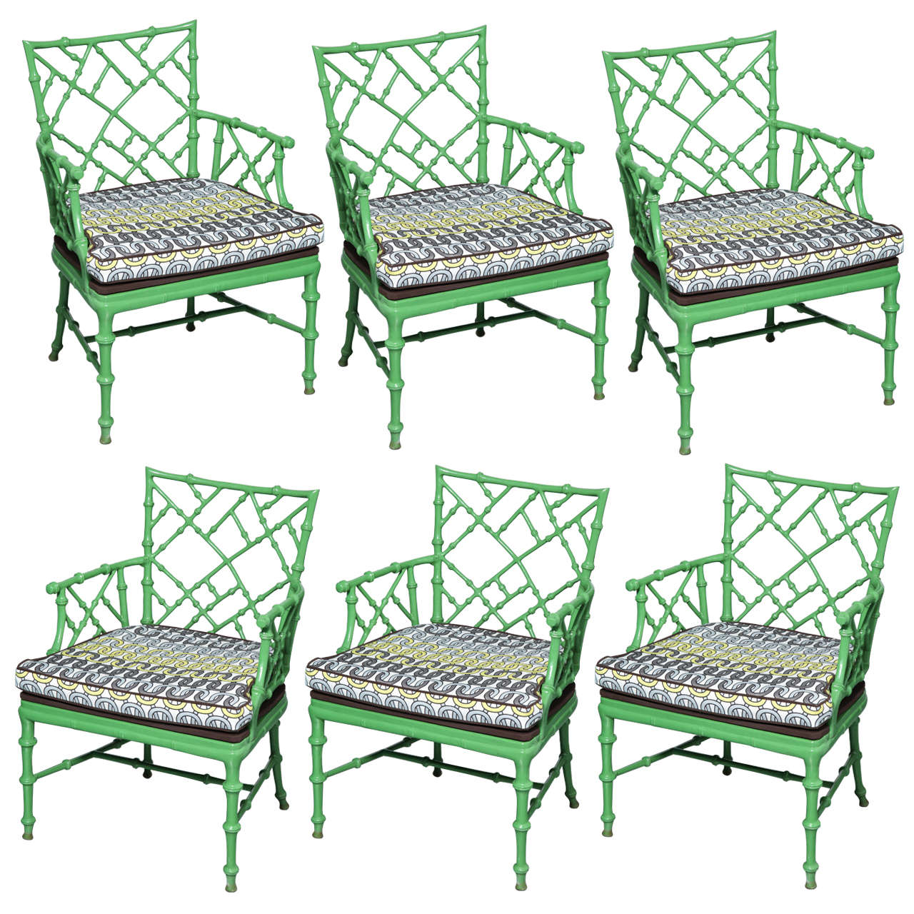 Seating Mini Gravita Armchair In Oriental Garden Fabric: Phyllis Morris Faux Bamboo Cast Metal Arm Chairs, Set Of 6