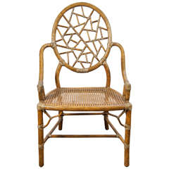 """""""Spider Web"""" Bamboo & Caned Chair"""