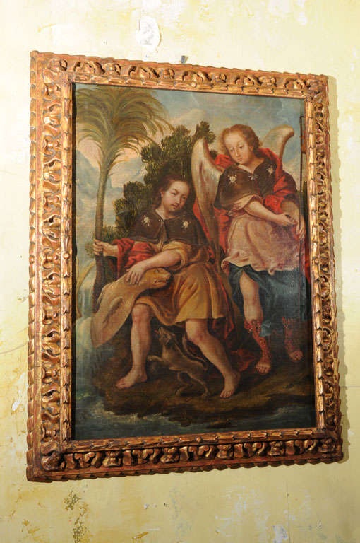 18th c. Painting from Spain Depicting Arch Angel San Raphael With Tobias And The Fish.New Carved Wood Frame. Typically This Painting Would Have Been Part Of A Larger Canvas.Beautiful Painting.