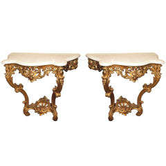 Pair of Antique French Gold Leaf Marble Top Consoles