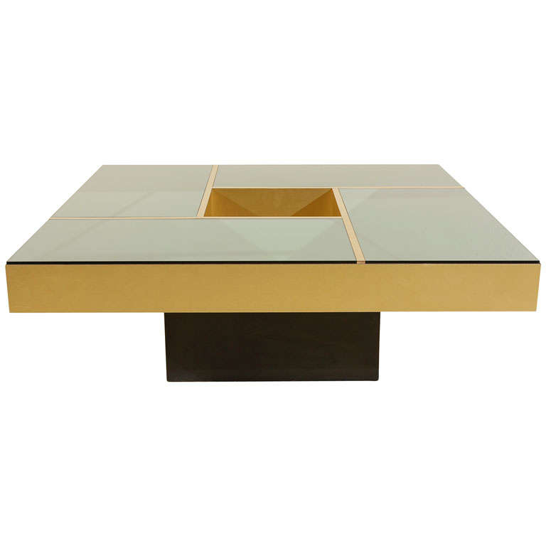Square Brass And Bronze Mirror Coffee Table At 1stdibs