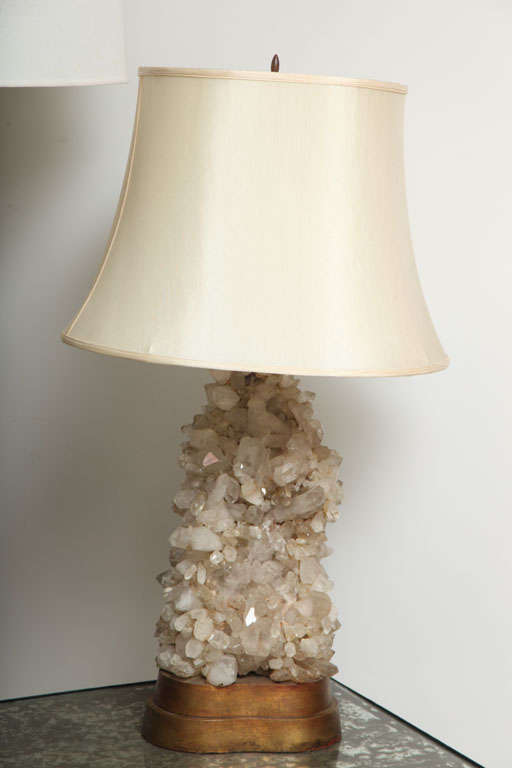 American Pair Quartz Lamps by Caroll Stupell For Sale