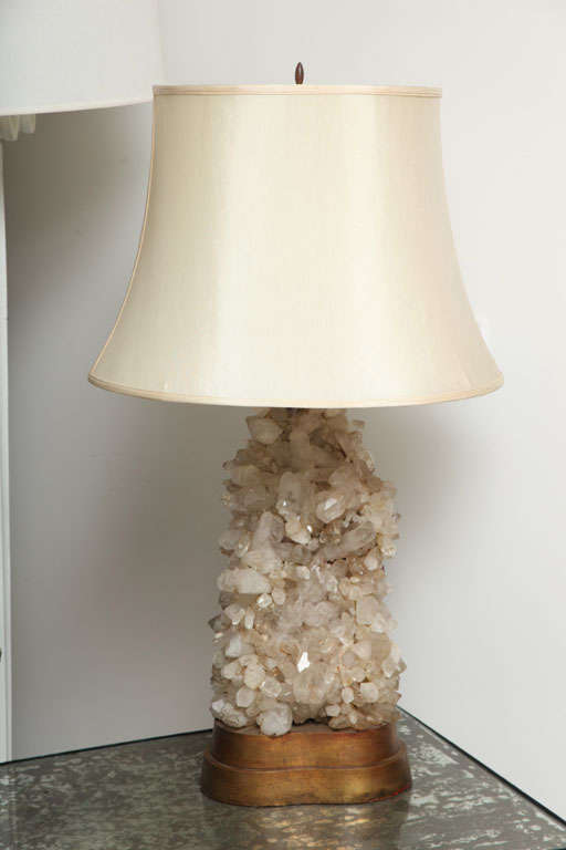 A rare and unusual pair of quartz lamps by Carol Stupell.