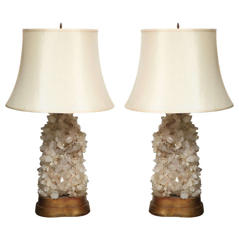 Pair Quartz Lamps by Caroll Stupell For Sale