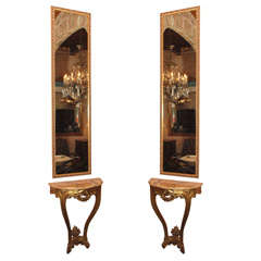 Pair old French giltwood & marble top consoles with pier mirrors