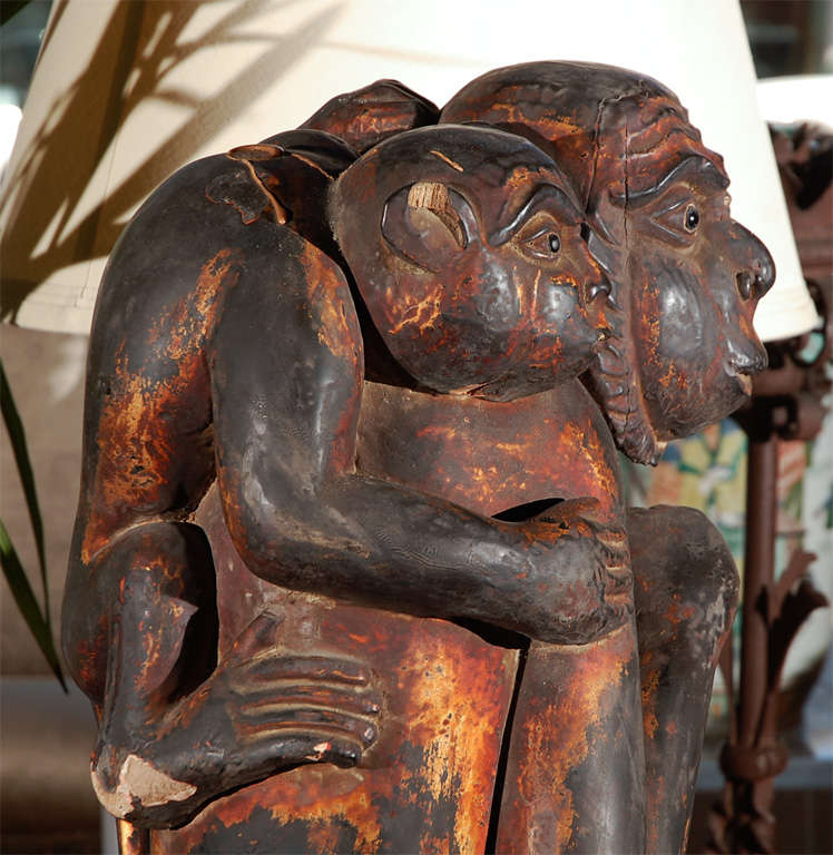 Mid-20th Century Monkey Sculpture of Mother and Baby For Sale