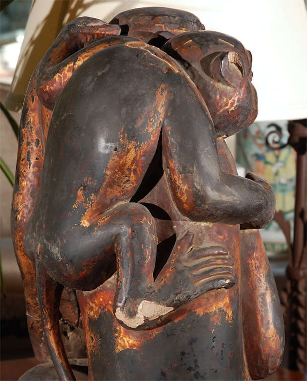 Monkey Sculpture of Mother and Baby For Sale 1