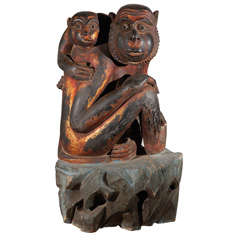 Monkey Sculpture of Mother and Baby