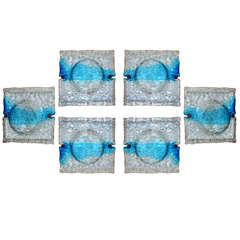 VENINI, Six Large Quilt Sconces