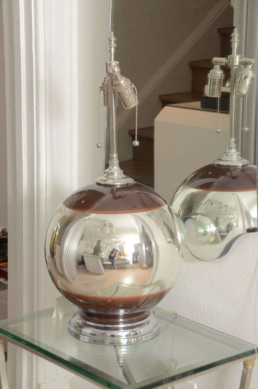 Pair Of Round Mercury Lamps With Brown Accents With Chrome
