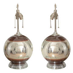 Pair of Round Mercury Lamps with Brown Accents with Chrome Base