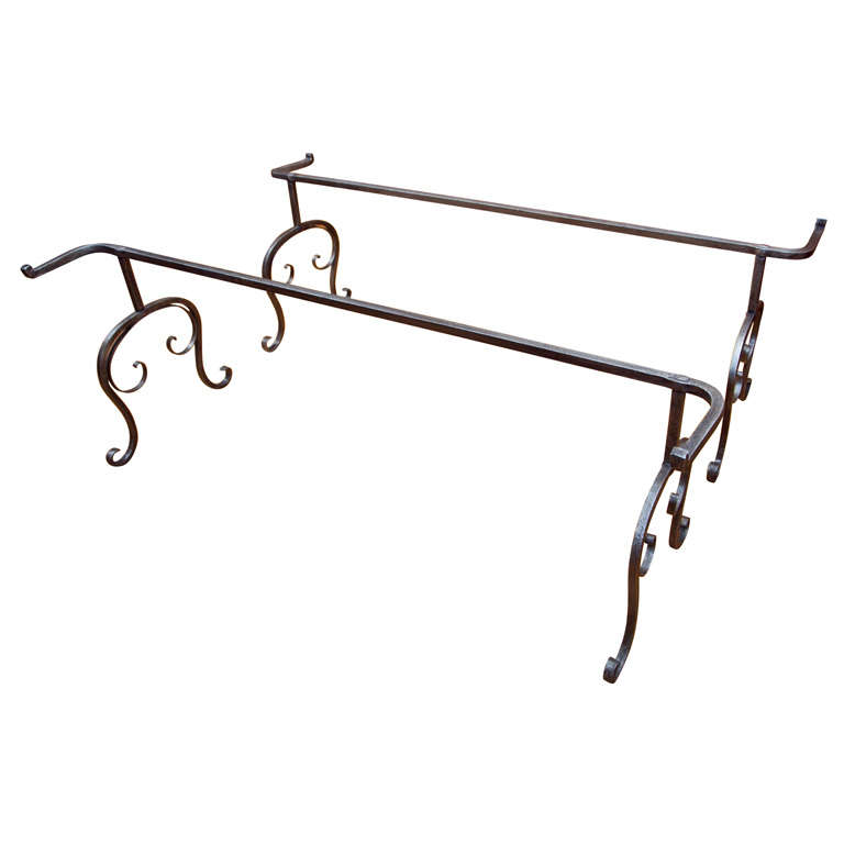 Large hand forged wrought iron low table base at 1stdibs for Wrought iron cocktail table bases