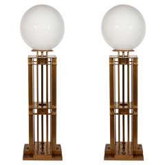 Pair of Cast Brass Illuminated Newel Posts