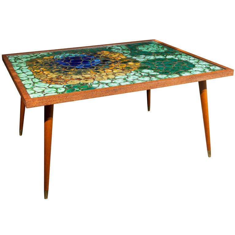 Mosaic tile top coffee table at 1stdibs for Mosaic coffee table designs