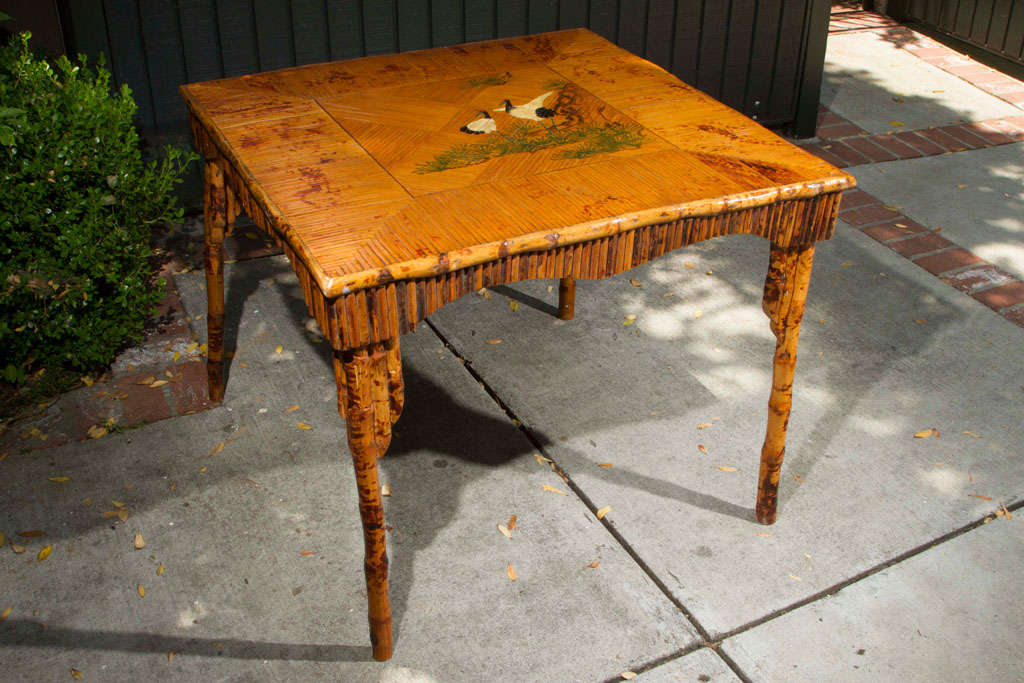Exceptional Victorian Bamboo And Rattan Game Table With Hand Painted Birds And Foliage.  Split Rattan Is