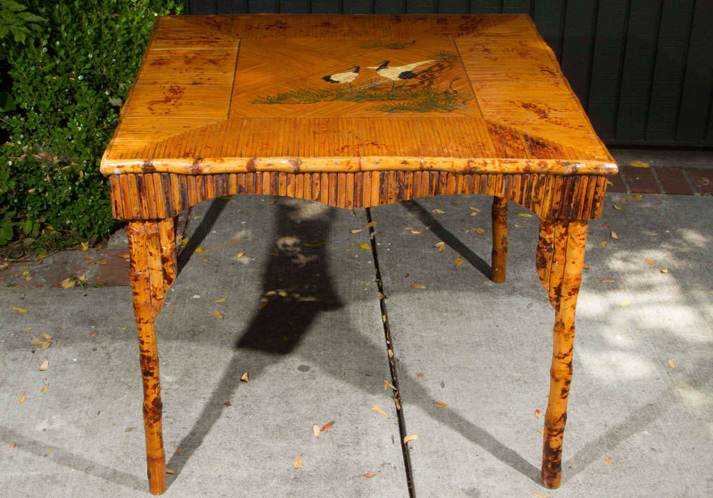 Beautiful English Victorian Bamboo Game Table For Sale