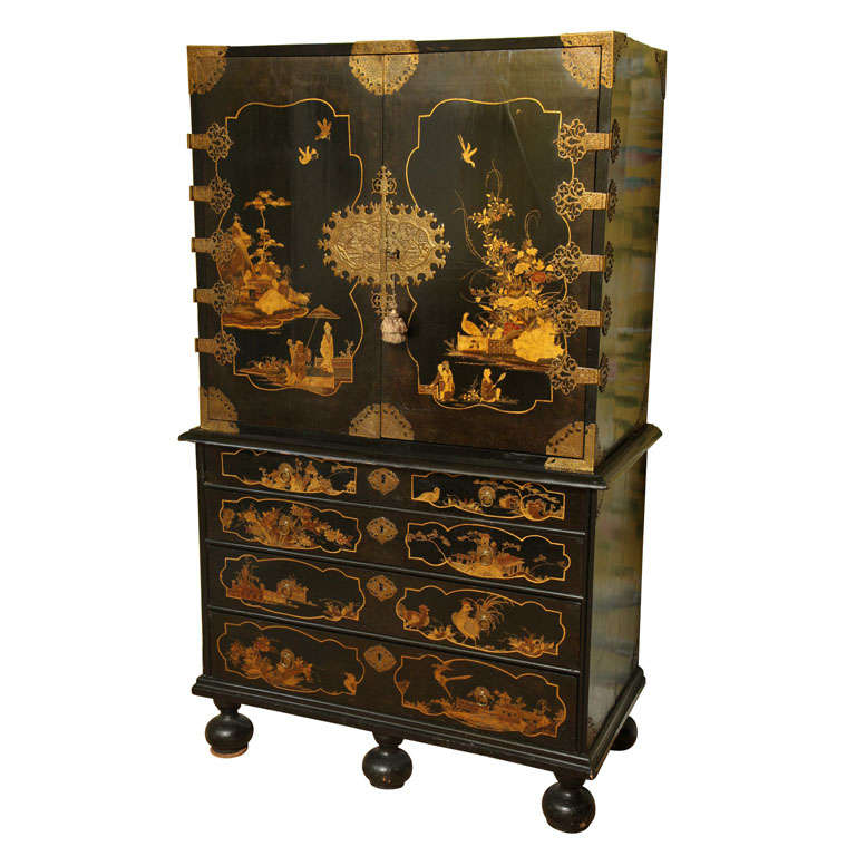 antique william mary period japanned cabinet on chest english circa 1690 for sale