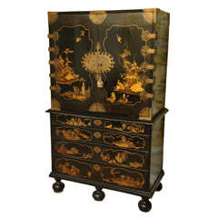 Antique William & Mary Period Japanned Cabinet on Chest, English, circa 1690