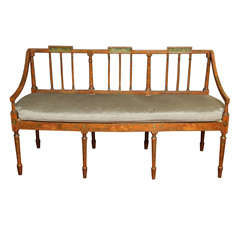 Antique Regency Painted Faux Satinwood Settee, circa 1810