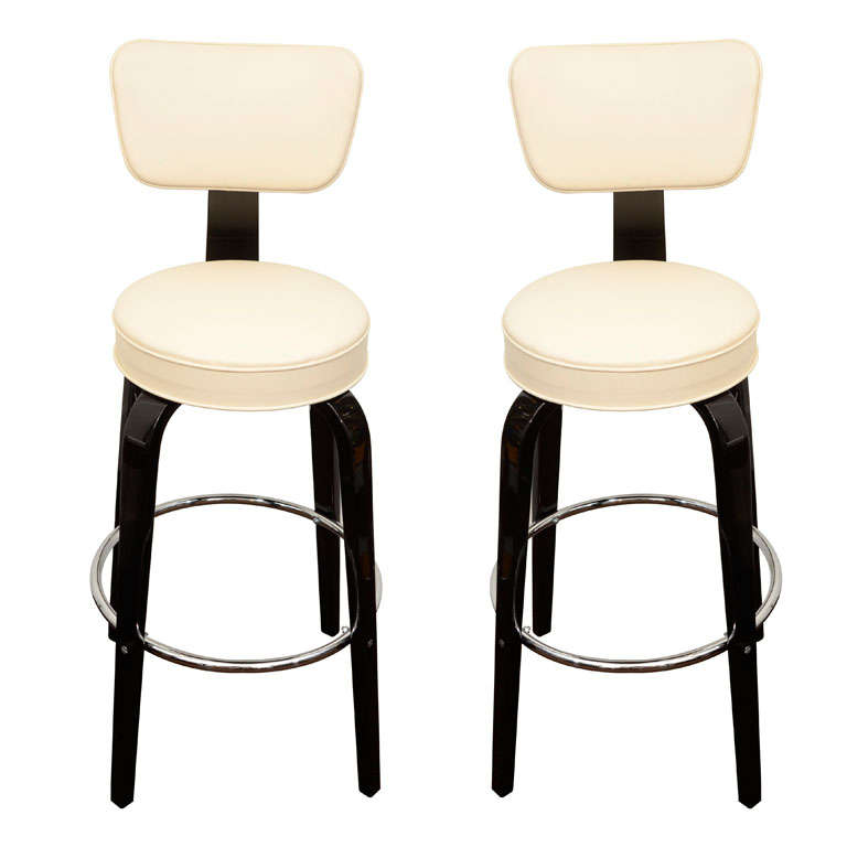 Pair Of Thonet Art Deco Bar Stools For Sale