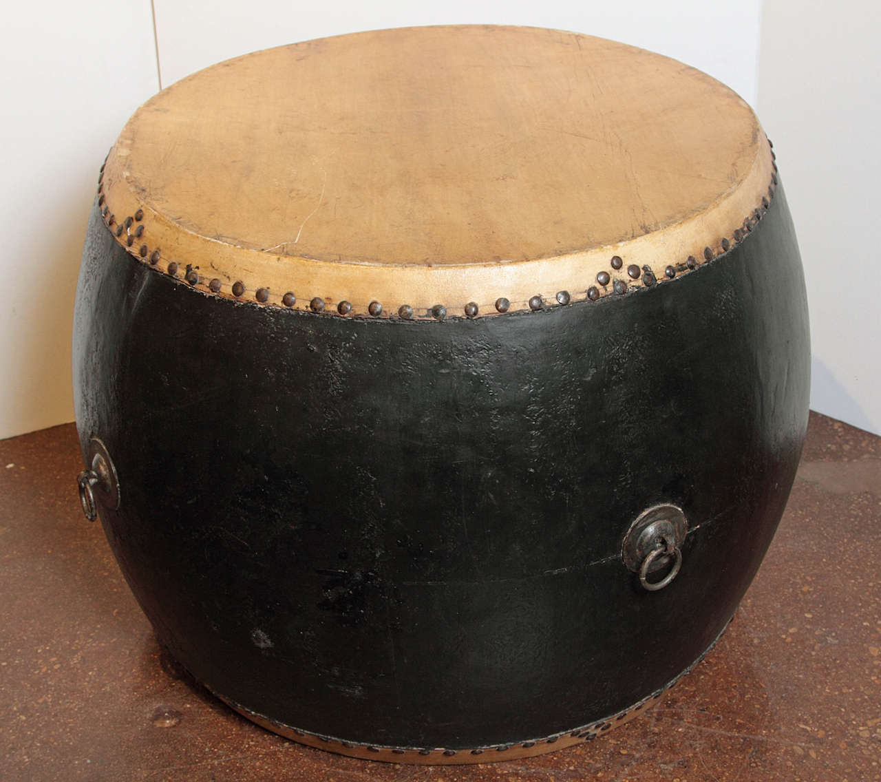 Chinese Drum Coffee Table: Chinese Ceremonial Black Lacquer Drum At 1stdibs