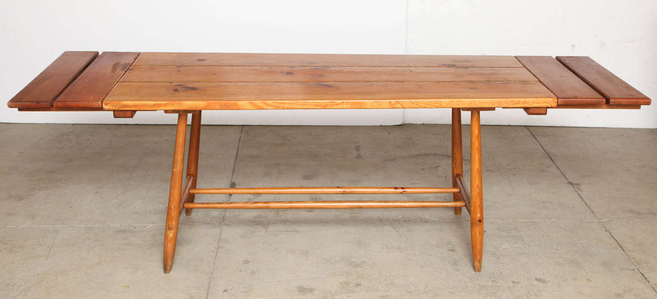 French Charlotte Perriand Table and Six Chairs For Sale