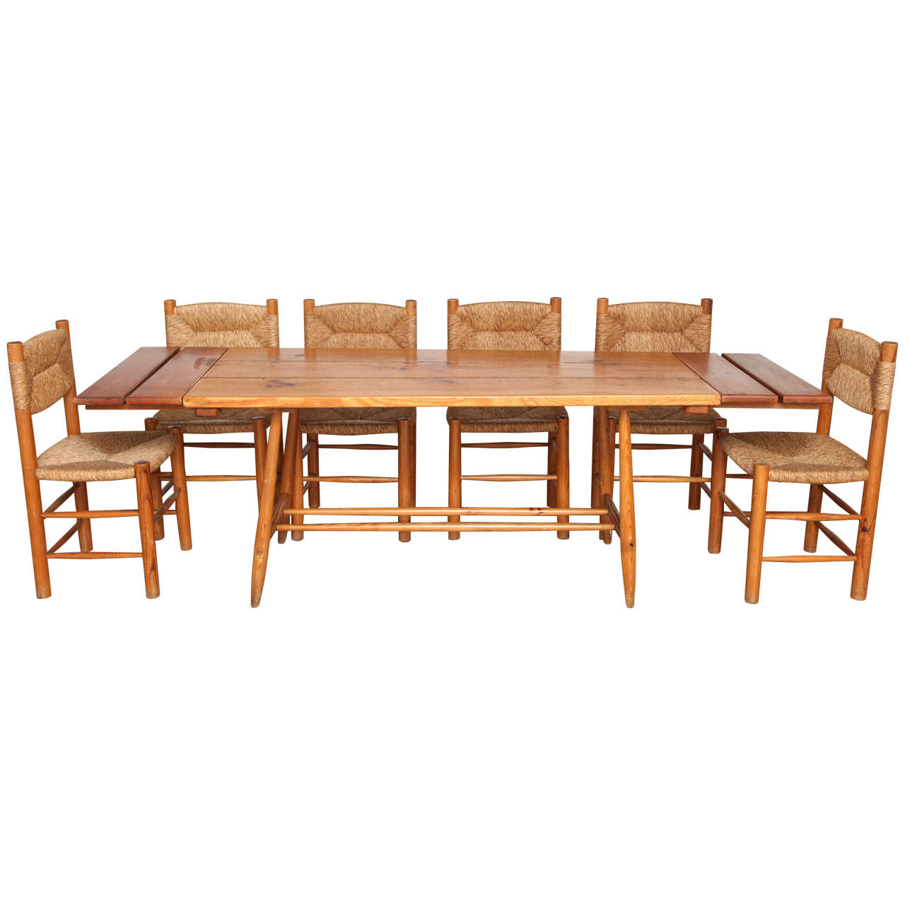 charlotte perriand table and six chairs for sale at 1stdibs