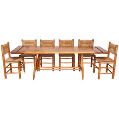 Charlotte Perriand Table and Six Chairs