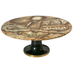 Coffee Table with Music Instruments Design, 1950s, by P. Fornasetti, Italy.