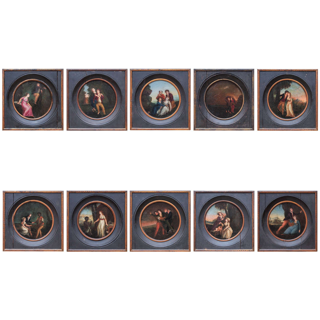 Set of Ten Period French Directoire Oil on Board Paintings