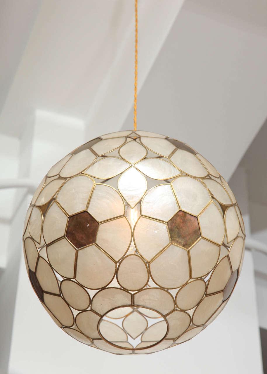 1960s Capiz Shell Floral Globe Light Fixture 2