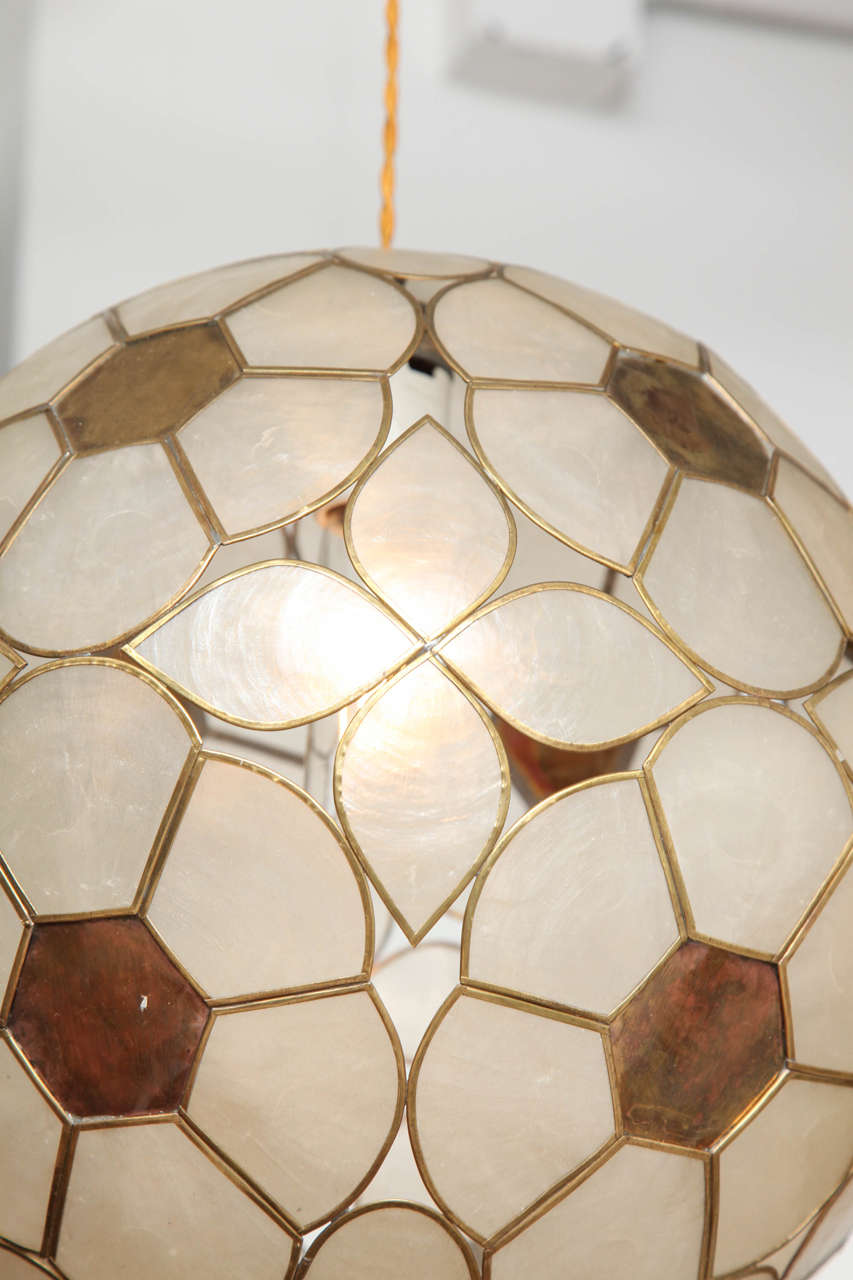 1960s capiz shell floral globe light fixture for sale at. Black Bedroom Furniture Sets. Home Design Ideas