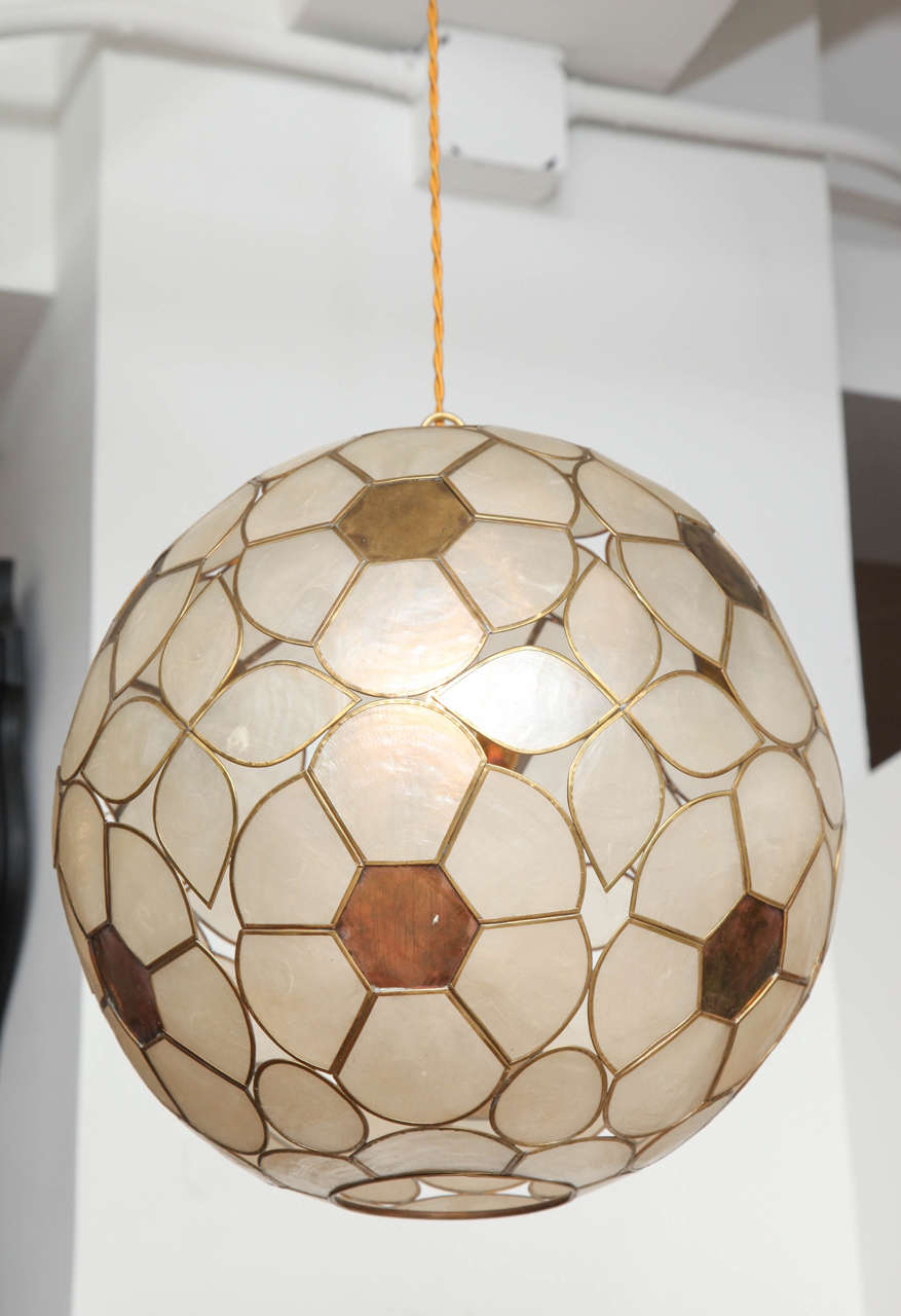 1960s capiz shell floral globe light fixture