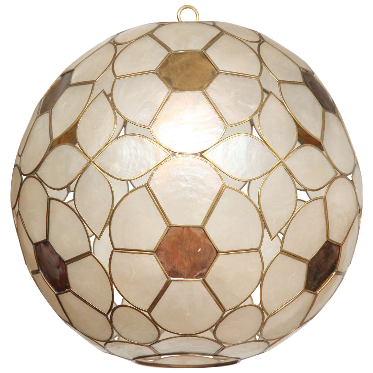 1960s capiz shell floral globe light fixture for sale at 1stdibs 1960s capiz shell floral globe light fixture 1 arubaitofo Image collections