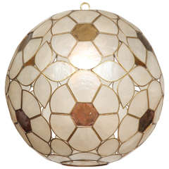 1960s capiz shell floral globe light fixture 4. Black Bedroom Furniture Sets. Home Design Ideas