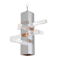 1970s Chrome and Lucite Pendant Light Fixture