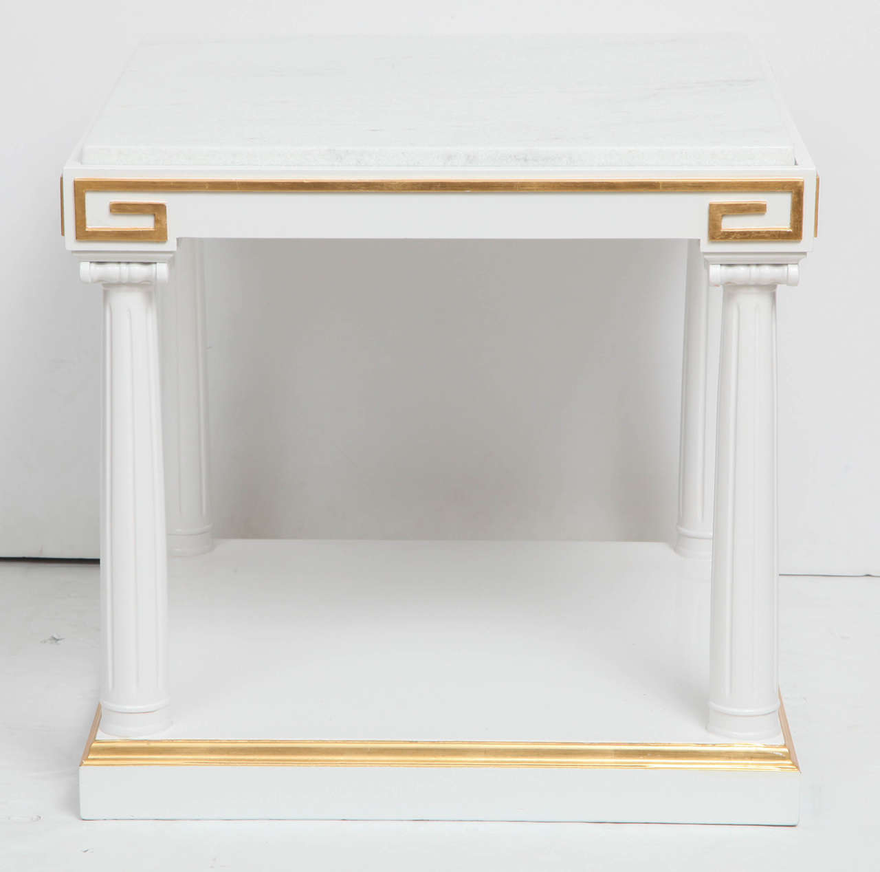 Hollywood Regency Grosfeld House White Lacquer and Gold Leaf Side Tables For Sale