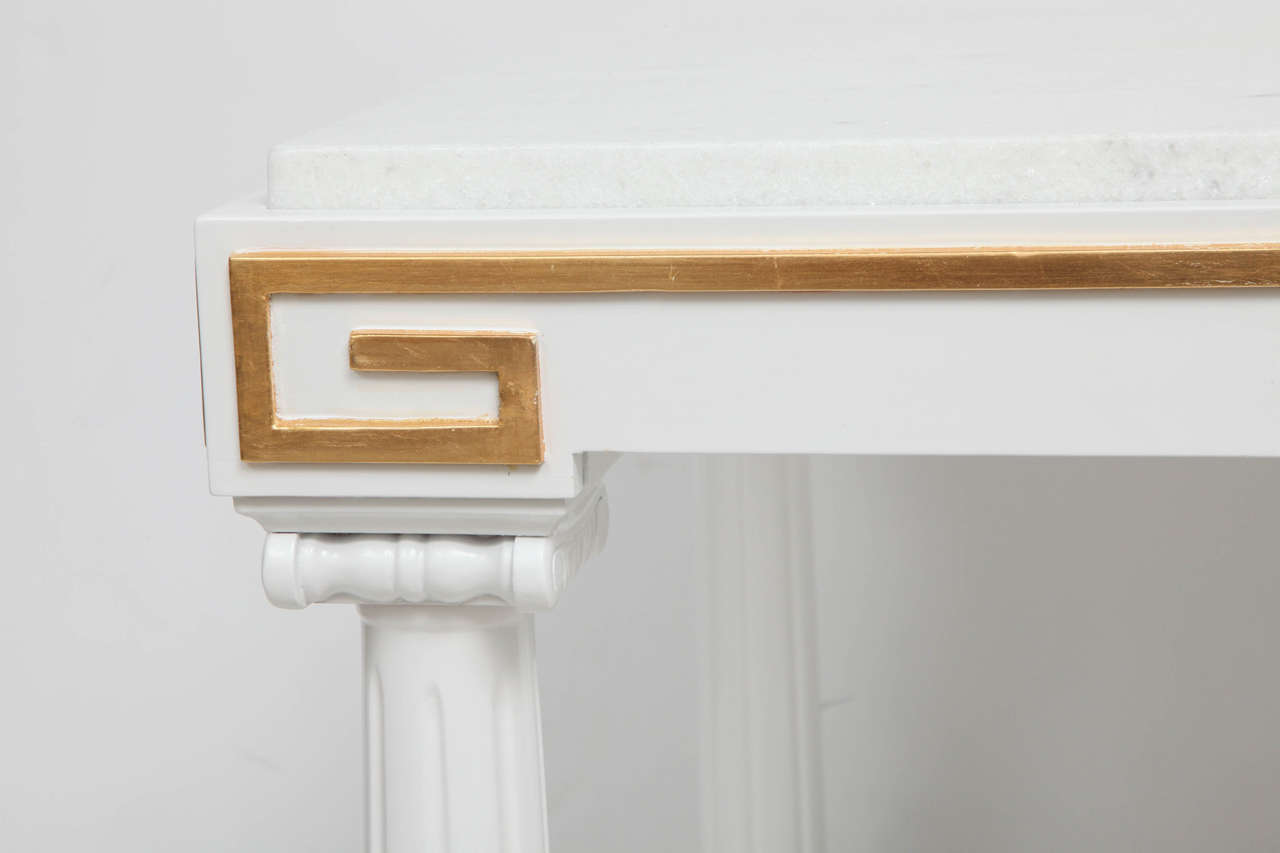 Lacquered Grosfeld House White Lacquer and Gold Leaf Side Tables For Sale