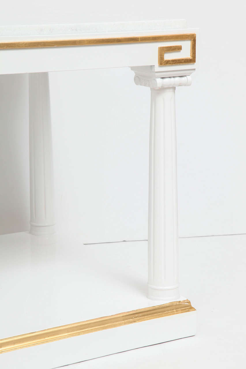 Grosfeld House White Lacquer and Gold Leaf Side Tables In Excellent Condition For Sale In New York, NY