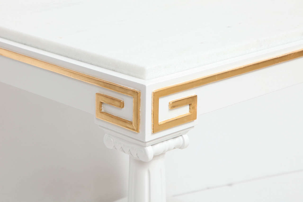 20th Century Grosfeld House White Lacquer and Gold Leaf Side Tables For Sale