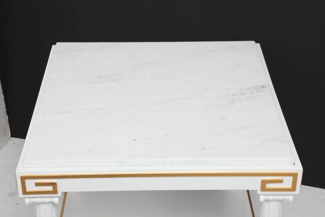Grosfeld House White Lacquer and Gold Leaf Side Tables For Sale 2