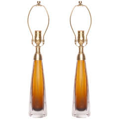Pair of Kosta Boda Fluted Amber Glass Lamps