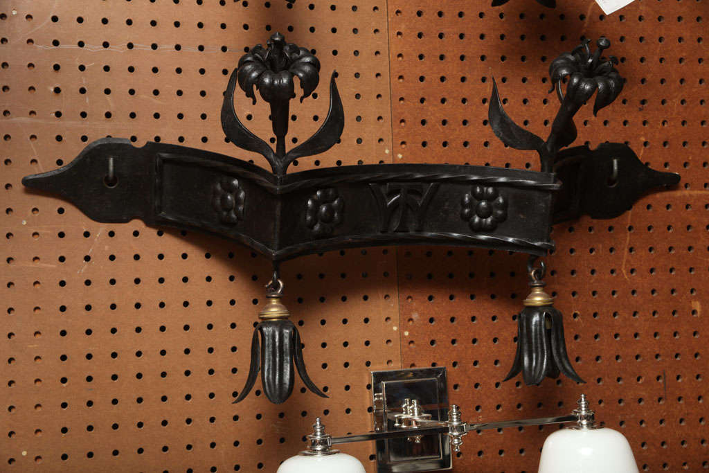 British Pair of Wrought Iron Lorimer Sconces For Sale