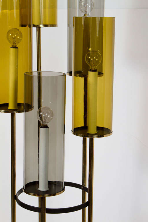 multi tiered glass and brass five arm floor lamp by lightolier at 1stdibs. Black Bedroom Furniture Sets. Home Design Ideas